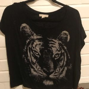 Glitter tiger black t-shirt BOMB AT DA CLUB